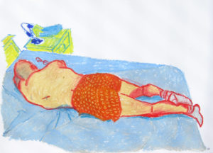 Paco in bed, oil pastel on paper by Mary Cinque