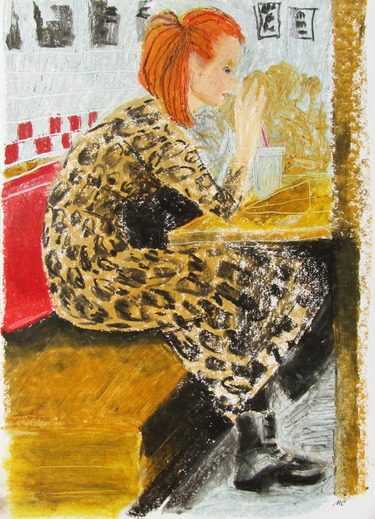 At Five Guys, oil pastel on paper by Mary Cinque
