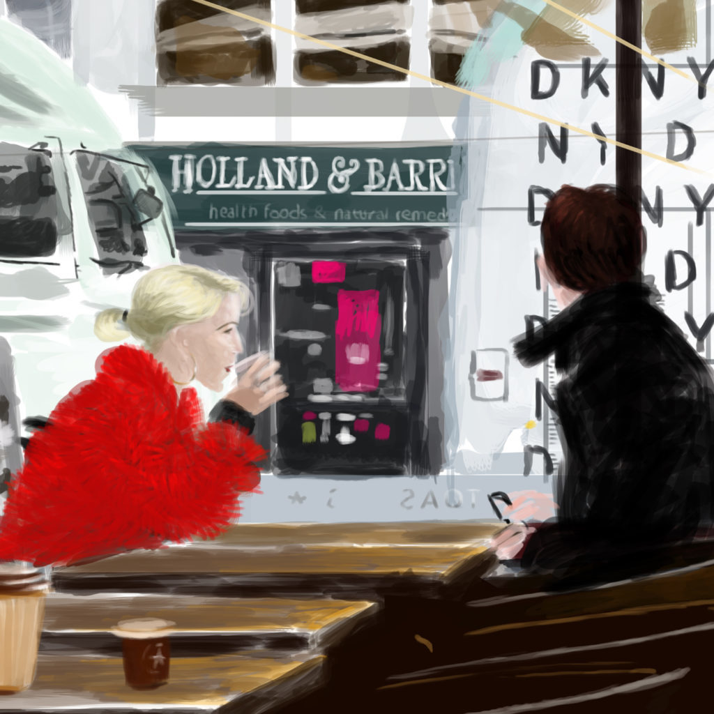 Mary Cinque digital painting Pret, London, detail